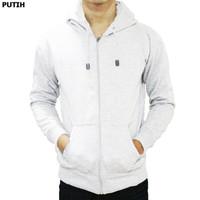 Best seller !!! Jaket Sweater Polos Hoodie Zipper/Resleting Putih