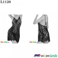 L1128 - Lingerie Nightgown Hitam Transparan Bunga-Bunga