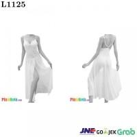 L1125 - Lingerie Long Gown Putih Transparan Bunga-Bunga