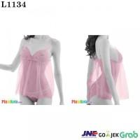 L1134 - Lingerie Babydoll Pink Transparan Ikat Belakang