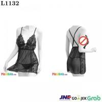 L1132 - Lingerie Nightgown Tali Silang Hitam Transparan