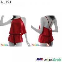 L1121 - Lingerie Babydoll Tali Silang Merah Ikat Belakang Celana