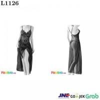 L1126 - Lingerie Long Gown Hitam Transparan Bunga-Bunga