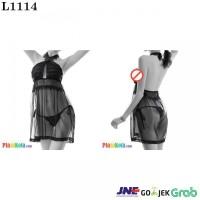 L1114 - Lingerie Nightgown Halterneck Hitam Transparan