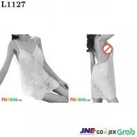 L1127 - Lingerie Nightgown Putih Transparan Bunga-Bunga