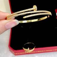 Gelang set Cincin Cartier Paku diamond Ck122 Kualitas premium Ready Go