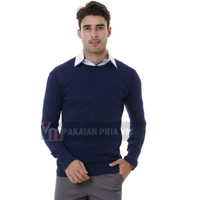 VM Oblong Rajut Biru Dongker Polos Sweater Pria