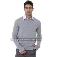 VM Oblong rajut Polos Panjang Abu Muda Sweater pria