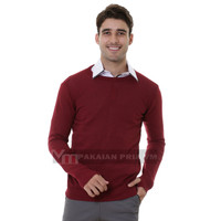 VM Oblong Rajut merah Maroon Polos Panjang Sweater Pria
