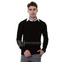VM Oblong Rajut Hitam Polos Panjang Sweater Pria