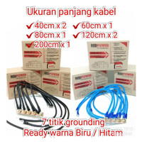 Kabel Ground/Grounding Premium 7 Titik Warna Biru/Hitam - Redpower