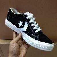Sneakers Tali Sepatu Converse One Star Black White Premium Original