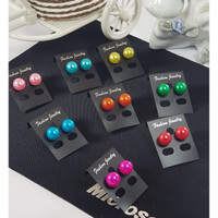 Amora Collection Anting Bulat Mutiara Hitam + Fashion Warna - Warni