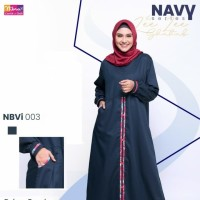 Gamis Dewasa Casual Ori Nibras NBVi 03 Gamis Busui Toyobo Navy Polos