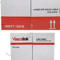 New kabel lan vascolink cat 6 outdoor original / asli 1 box (dus)
