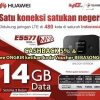 New Mifi Huawei 4G LTE E5577 Max 3000mah Free TSEL 14Gb 2Bln