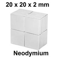 Magnet Super Neodymium Kepingan persegi kotak NdFeB 20 x 20 x 2 mm