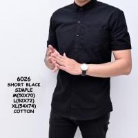 Good Quality Kemeja Hitam Polos Pria Lengan Pendek | Baju Cowok