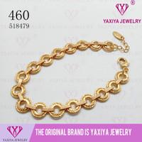 Gelang rantai plat polos perhiasan imitasi lapis emas 460