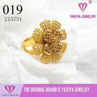 Cincin Bunga Lapis Emas Perhiasan Imitasi Yaxiya Jewelry 019
