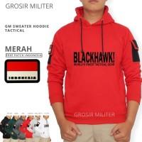 GM Sweater Hoodie Tactical Blackhawk 6 Warna Free Patch