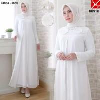 Gamis Putih Wanita Muslim / Gamis Burkat / Gamis Lebaran/Gamis Umroh