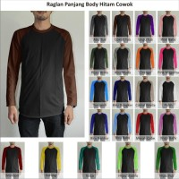 XL-XXL Tshirt Kaos Polos Raglan Pria Cowok Lengan Panjang Body Hitam J