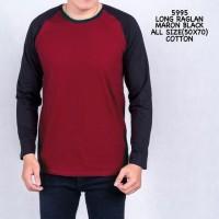 Kaos lengan panjang pria raglan baju cowok maroon black 27