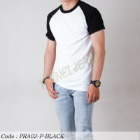 Baju Kaos Pria Raglan Polos Lengan Pendek Polosan Warna Hitam Putih 18