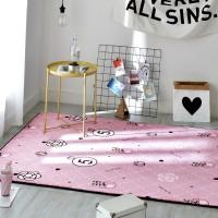 Karpet Alas Lantai dengan Bahan Halus dan Ukuran Besar Warna Pink Be