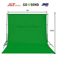 Background Foto Hijau Polos 3x2,7 Meter (Green Screen)