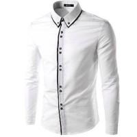 Hem TwoLine white OT pakaian pria kemeja slim fit warna putih