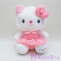 Boneka hello kitty kucing gaun polkadot pink large AUG
