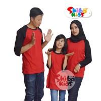 READY - Kaos raglan polos couple family (MERAH - HITAM)