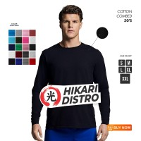 KAOS POLOS COTTON COMBED 30S LONG SLEEVE SIZE S M L
