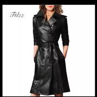 Women Pu Leather Trench Coat Female Overcoat Spring Autumn long sleeve