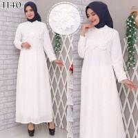 Gamis Putih Premium / Gamis Lebaran / Gamis Syari / Gamis Pesta 1140