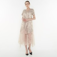 ATELIER MODE Cocktail Dress Handkerchief Bottom Hem Gerra Dress Wanita