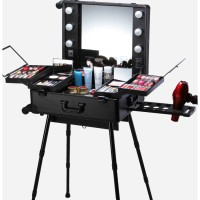 promo 2017 New Professional Makeup box with Lights beauty Case with