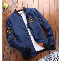 Jaket Baseball Kekinian / Bomber Pilot / Sweater Pria Navy - MOF 02