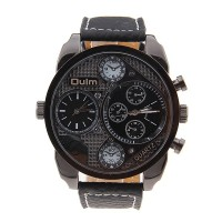 Jam Tangan Pria Multi Fungsi Double Movement Tali Kulit Warna Hitam