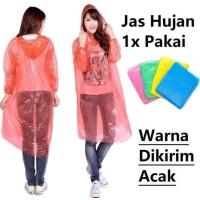 jas hujan sekali pakai plastik tipis disposable rain coat praktis aman