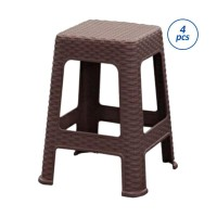 Olymplast Anyaman Rotan Plastik Set Kursi [4 pcs] Coklat Milo
