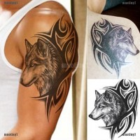 maoting1.ph Large Wolf Head Waterproof Temporary Removable Tattoo Body