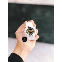 Jam Tangan Wanita Cewek BabyG BA110 Rubber Strap Putih Hitam gold