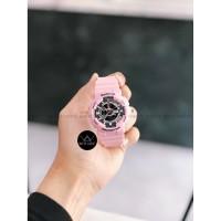 Jam Tangan Wanita Cewek BabyG BA110 sporty Rubber Strap Pink Hitam