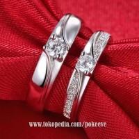 Cincin Couple Perak Tunangan/ Kawin/ Pasangan Pria/ Wanita Silver S925