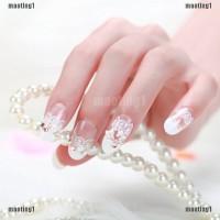 MAORE 24Pcs Kuku Palsu Full Cover Bahan Akrilik Desain Kristal untuk N