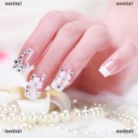 MAORE 24Pcs Kuku Palsu Full Berlian Akrilik untuk Manicure