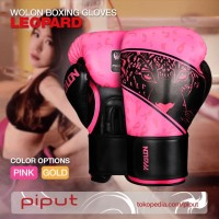 WOLON Boxing Gloves Sarung Tinju Full Glove Muay Thai 8oz 10oz Pink